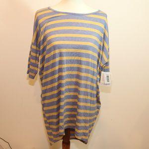 blue and mustard striped lularoe irma tunic Sz s
